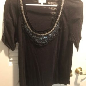 Anthropologie Deletta Black Jeweled Blouse - Large